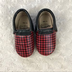 Monkey Feet Buffalo Plaid Shoes 12-18 Months Red